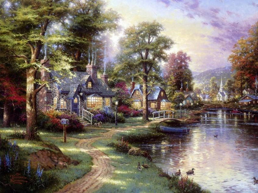 "Thomas Kinkade Painter of Light™ - ""Along the Lighted Path"""